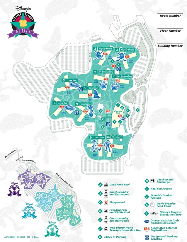 Walt Disney World Park and Resort Maps - Disney's All-Star Movies Resort map