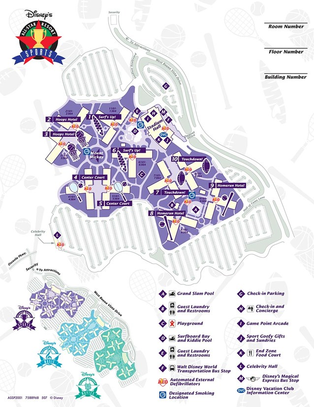 Walt Disney World Park and Resort Maps - Disney's All-Star Sports Resort map