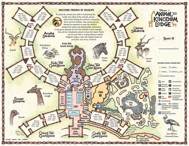 Walt Disney World Park and Resort Maps - Disney's Animal Kingdom Lodge map