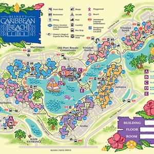 6 of 17: Walt Disney World Park and Resort Maps - Disney's Caribbean Beach Resort map