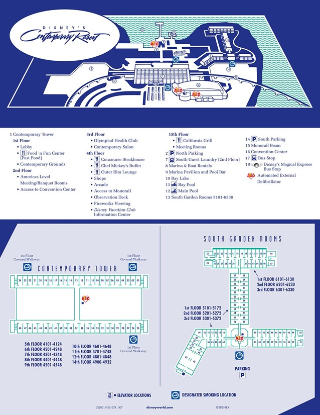 Walt Disney World Park and Resort Maps - Disney's Contemporary Resort map