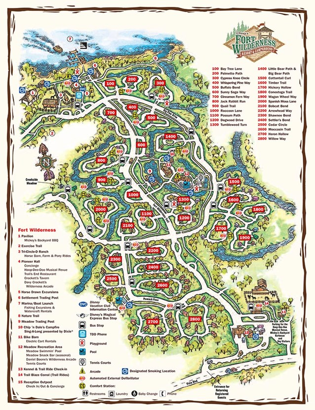 Walt Disney World Park and Resort Maps - Disney's Fort Wilderness Cabins and Campground map