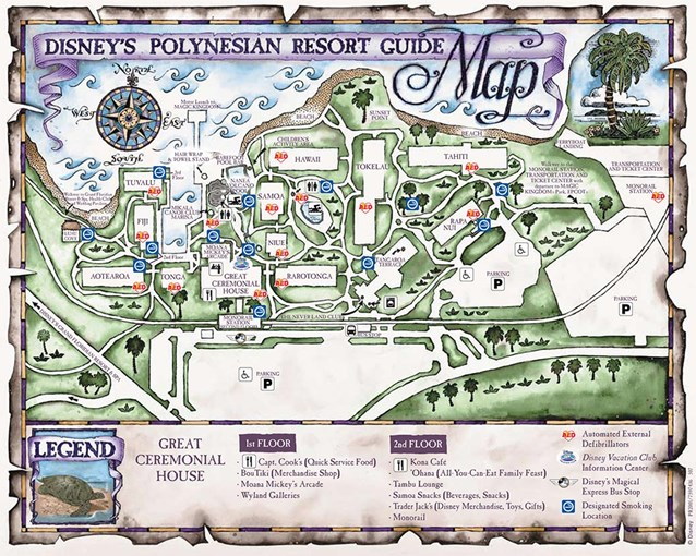 Walt Disney World Park and Resort Maps - Disney's Polynesian Resort map