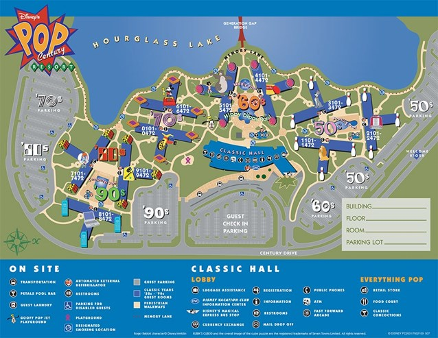 Walt Disney World Park and Resort Maps - Disney's Pop Century Resort - Classic Years map