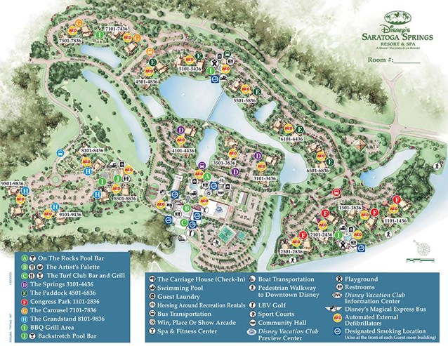 Walt Disney World Park and Resort Maps - Disney's Saratoga Springs Resort & Spa map