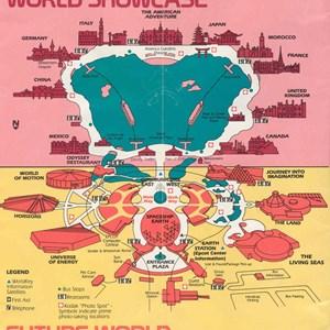 7 of 12: Walt Disney World Park and Resort Maps - Epcot Center Guide Book 1986