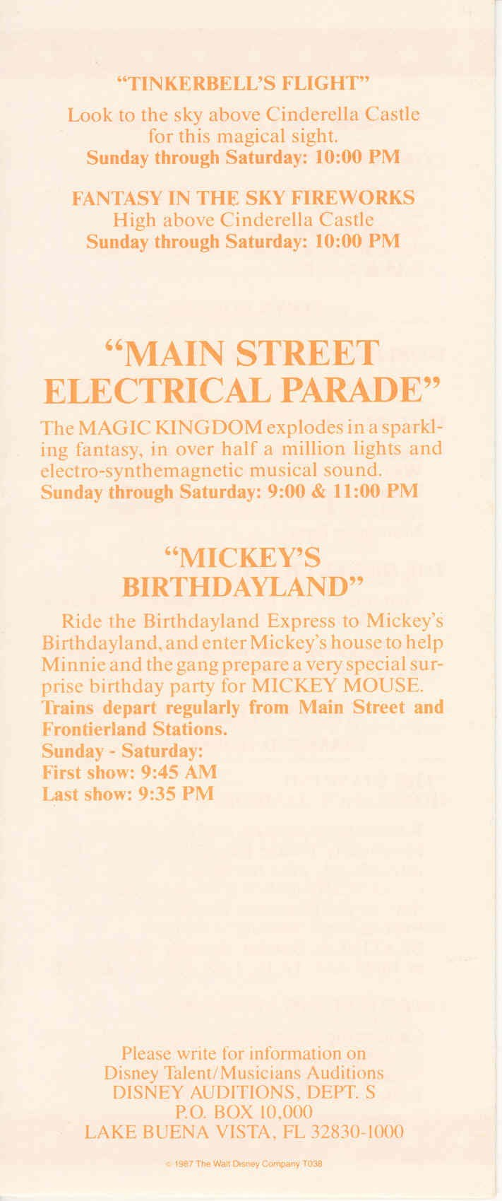 Magic Kingdom Show Guide 1989