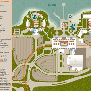 1 of 2: Walt Disney World Park and Resort Maps - Disney's Contemporary Resort and Bay Lake Tower