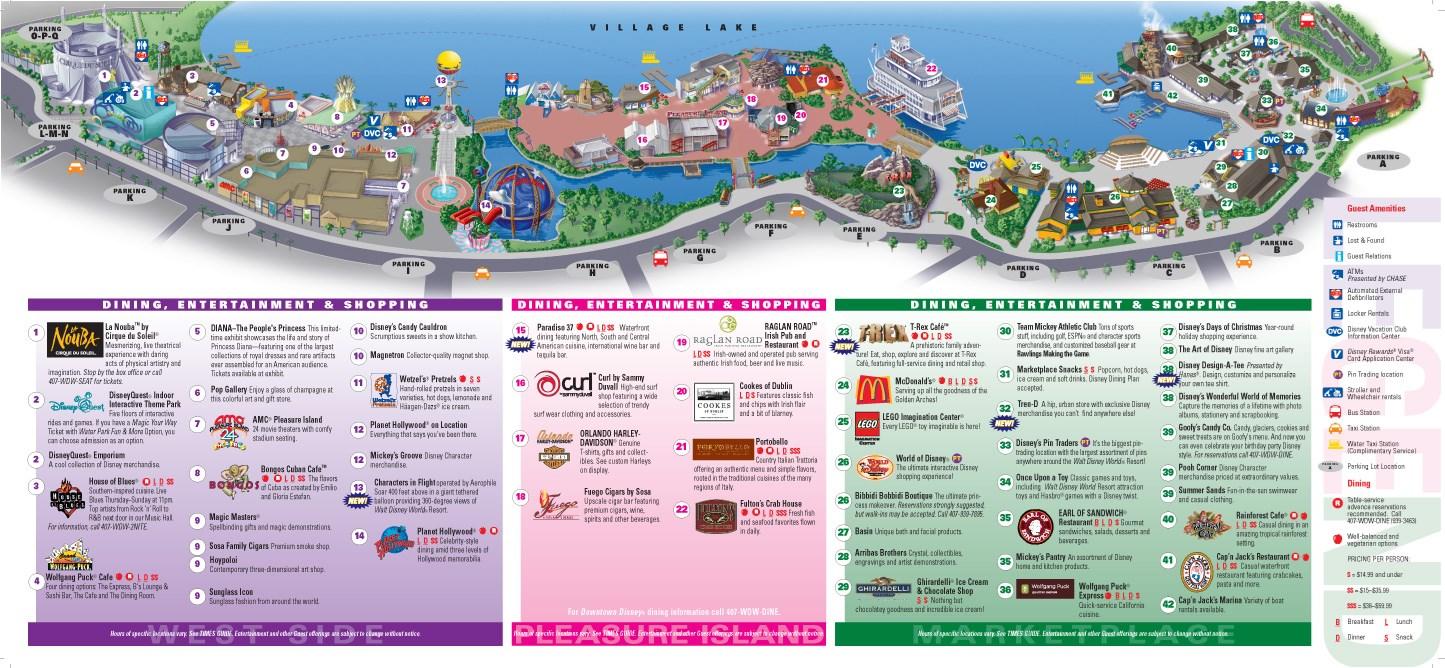Downtown Disney Maps 2009