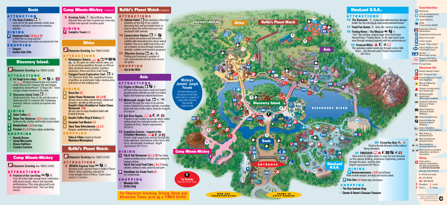 Walt Disney World Park and Resort Maps Disney 39 s Animal Kingdom map
