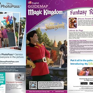 1 of 4: MyMagic+ - Magic Kingdom guide map with MyMagic+ and FastPass+ details
