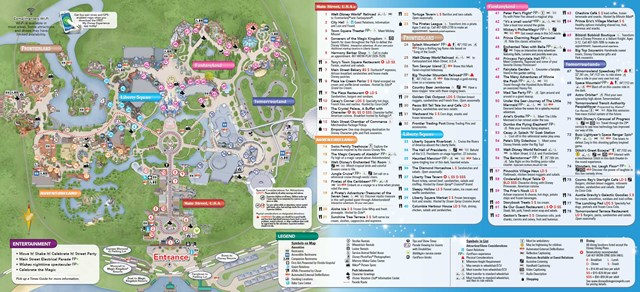 Magic Kingdom guide map with MyMagic+ and FastPass+ details