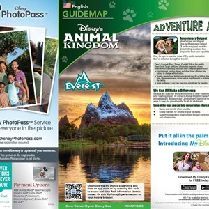 3 of 4: MyMagic+ - Disney's Animal Kingdom guide map with MyMagic+ and FastPass+ details