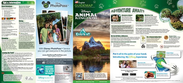 MyMagic+ - Disney's Animal Kingdom guide map with MyMagic+ and FastPass+ details