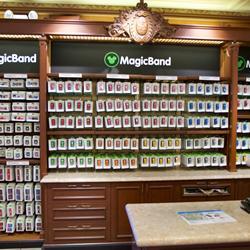 MagicBand retail display at the Magic Kingdom's Emporium