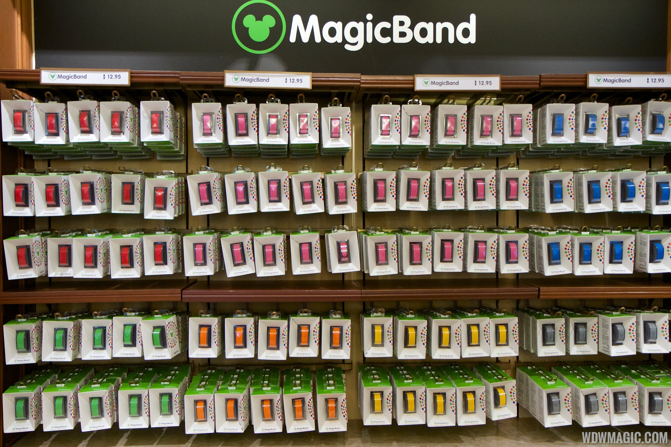 MagicBand retail display at the Magic Kingdom's Emporium