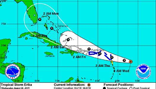 Tropical Storm ERIKA to bring possible severe weather to Central Florida early next week