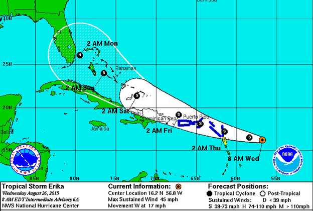 Tropical Storm Erika tracks