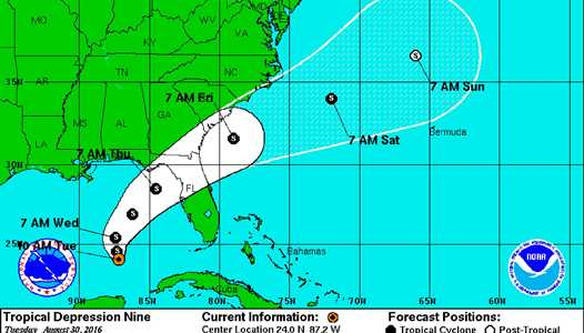 Tropical Depression NINE to impact the theme park areas later this week