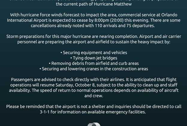 Orlando International Airport status ahead of Hurricane Matthew