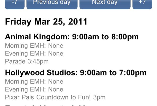 WDWMAGIC App screenshot - new Calendar navigation