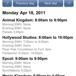 1 of 3: WDWMAGIC Updates - New 'Hours' screen with -7 and +7 day buttons