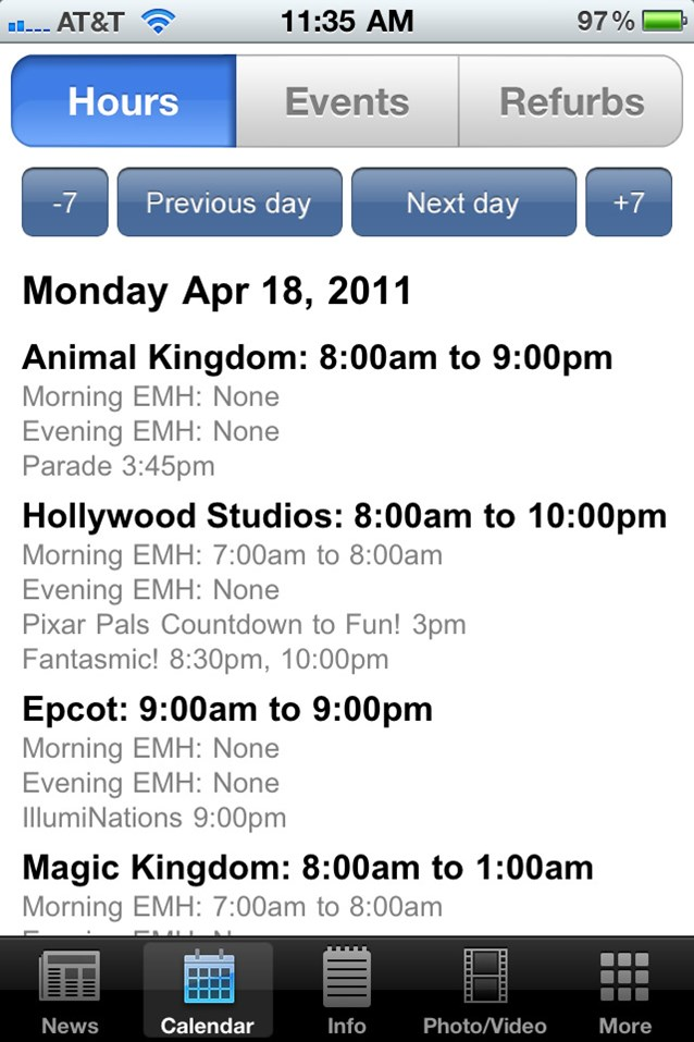 WDWMAGIC Updates - New 'Hours' screen with -7 and +7 day buttons