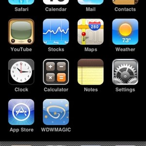 1 of 11: WDWMAGIC Updates - The home screen of an Apple Touch showing the WDWMAGIC icon.
