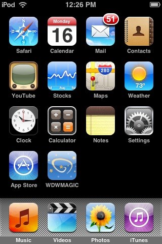 WDWMAGIC Updates - The home screen of an Apple Touch showing the WDWMAGIC icon.