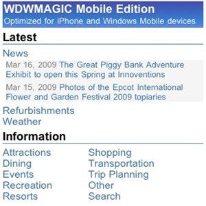 2 of 11: WDWMAGIC Updates - The WDWMAGIC Mobile home screen.