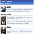 WDWMAGIC Updates - The Latest News Screen running on WDWMAGIC Mobile.