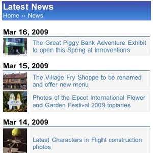 3 of 11: WDWMAGIC Updates - The Latest News Screen running on WDWMAGIC Mobile.