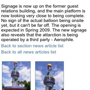 4 of 11: WDWMAGIC Updates - One of the news articles (including the photo gallery) displayed on WDWMAGIC Mobile.