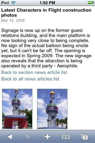 WDWMAGIC Updates - One of the news articles (including the photo gallery) displayed on WDWMAGIC Mobile.