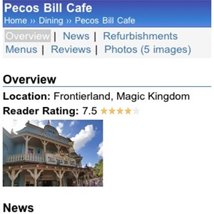 5 of 11: WDWMAGIC Updates - The Pecos Bill home page running on WDWMAGIC Mobile.