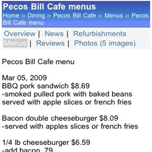 7 of 11: WDWMAGIC Updates - Pecos Bill Menu details displayed on WDWMAGIC Mobile.