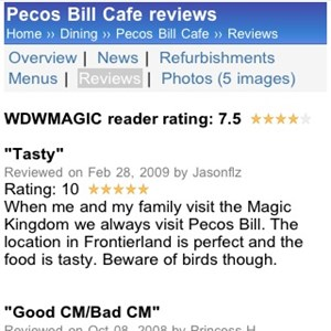 8 of 11: WDWMAGIC Updates - Pecos Bill reader ratings and reviews displayed on WDWMAGIC Mobile.