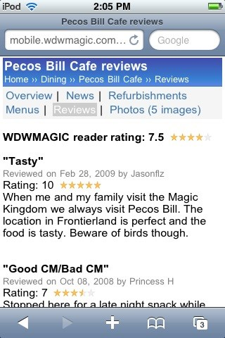 WDWMAGIC Updates - Pecos Bill reader ratings and reviews displayed on WDWMAGIC Mobile.