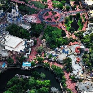2 of 11: Walt Disney World Aerial Photos - An overhead look at the Magic Kingdom's Adventureland, Frontierland, Liberty Square, and Fantasyland