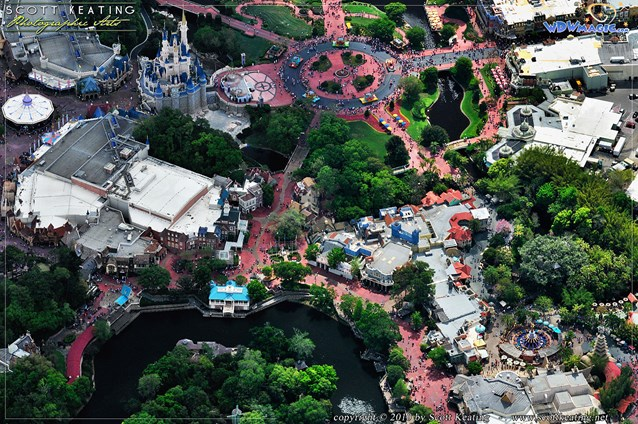 Walt Disney World Aerial Photos - An overhead look at the Magic Kingdom's Adventureland, Frontierland, Liberty Square, and Fantasyland