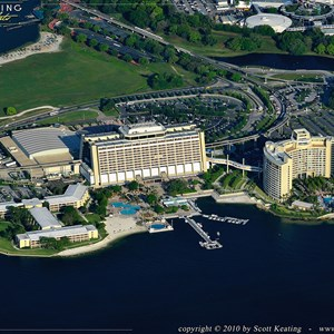 5 of 11: Walt Disney World Aerial Photos - Disney's Contemporary Resort to the left and Bay Lake Tower to the right