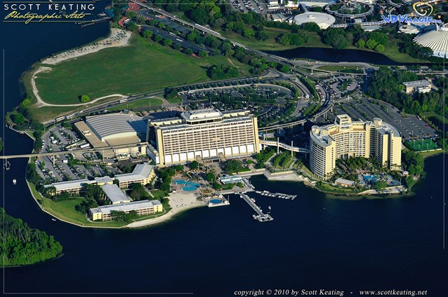 Walt Disney World Aerial Photos - Disney's Contemporary Resort to the left and Bay Lake Tower to the right