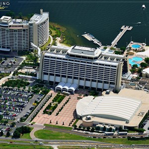 6 of 11: Walt Disney World Aerial Photos - The entire Contemporary Resort complex, the convention center in the lower right, Contemporary Resort tower in the center, and Bay Lake Tower in the upper left.