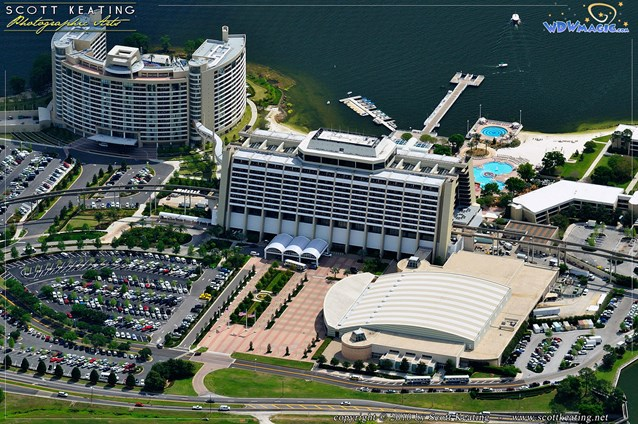 Walt Disney World Aerial Photos - The entire Contemporary Resort complex, the convention center in the lower right, Contemporary Resort tower in the center, and Bay Lake Tower in the upper left.