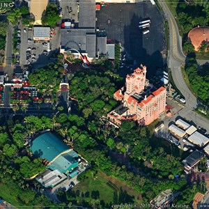 8 of 11: Walt Disney World Aerial Photos - Rock 'n' Roller Coaster at the top center, Fantasmic in bottom right, Beauty and the Beast in the lower center, the main entrance in the bottom left, Tower of Terror center and Sunset Blvd center left.