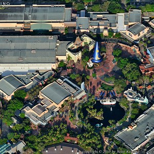 7 of 11: Walt Disney World Aerial Photos - Disney's Hollywood Studios - Pixar Place in the upper left, The Great Movie Ride center, Hollywood Blvd lower right, Sunset Blvd center right, Animation Courtyard upper right, Star Tours lower left, Streets of America center left.