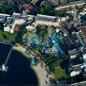 9 of 11: Walt Disney World Aerial Photos - Disney's Yacht Club Resort in the upper left, Disney's Beach Club Resort to the right, and Stormalong Bay pool in the center.