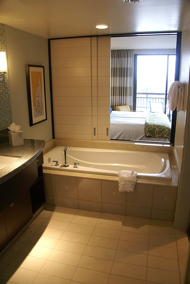 Bay Lake Tower at Disney's Contemporary Resort - Looking towards the tub and master bedroom from inside the master bathroom