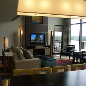 18 of 38: Bay Lake Tower at Disney's Contemporary Resort - The view into the living room from the dining room table