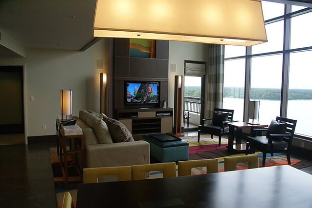 Bay Lake Tower at Disney's Contemporary Resort - The view into the living room from the dining room table